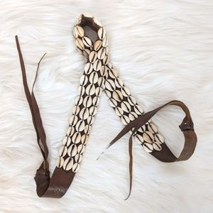 Accessories - Cowrie Shell Leather Boho Natural Tie Belt